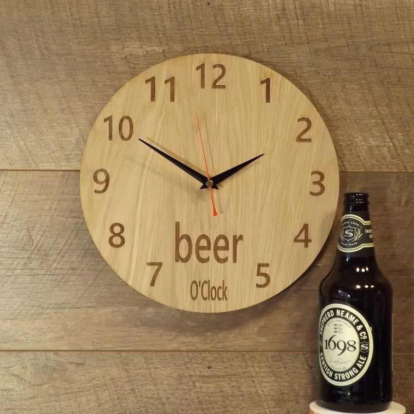 Beer O'Clock Wooden Wall Clock for Beer Lovers (B1)